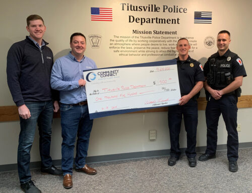 Community Connect Federal Credit Union donated $1500 towards Titusville PA Police Department's K-9 Fund.